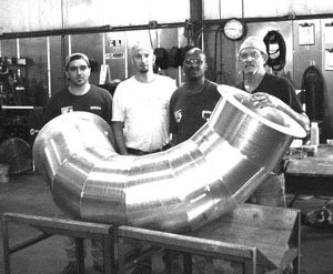 Four welders were certified to TIG weld the inside and outside of the ECS duct.