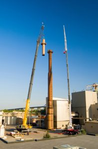 Tweet Garot Mechanical replaced the top 40 feet of this boiler stack for Green Bay Packaging.